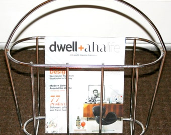 Vintage 1970's Wire Minimalist Magazine Rack w/ Handle Hollywood Regency Danish Modern Newspaper Basket Avail in Chrome