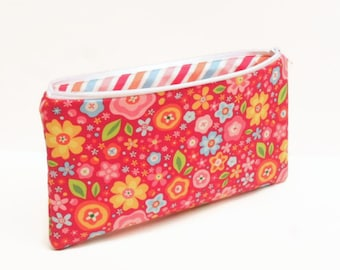 zipper pouch pencil case flowers red multi colored