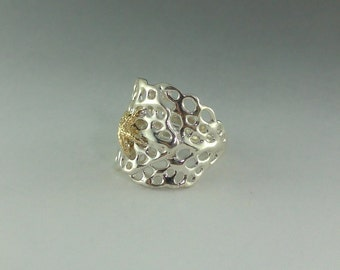 Sea Fan Coral Ring with 14k Gold Starfish - Sterling Silver adjustable Starfish Band