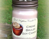 Creme Brulee, 12 Ounce Jar SOY Candle, Tan, Sweet Candle, Bronze Daisy Cut Lid