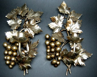 vintage GOLD GILT GRAPES wall hanging candle holder pair