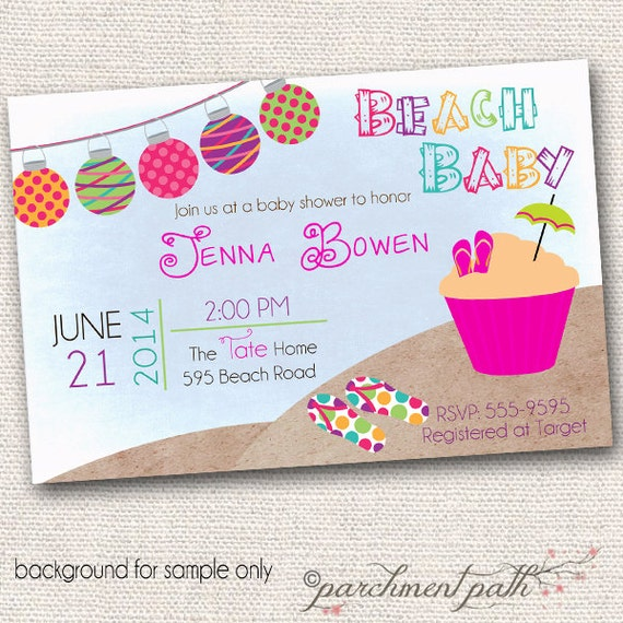 beach baby shower invitation summer baby shower girl baby shower