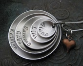 Stamped Stainless Steel 5 Disc Family Necklace - Grandma Necklace - Mother Necklace - Personalized Jewelry