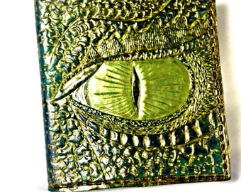 Dragon Wallet - Green - Smaug - Leather Wallet - Dragon Lover - Dragon Age - Dragon Eye - Dragon Art. Holds 8 credit cards,1 bill slot.