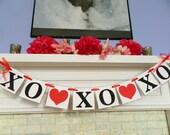 Valentines Day Decor Valentines Garland XO XO XO  Banner Hugs and Kisses Banner Valentines Day Photo Prop Holiday Decor