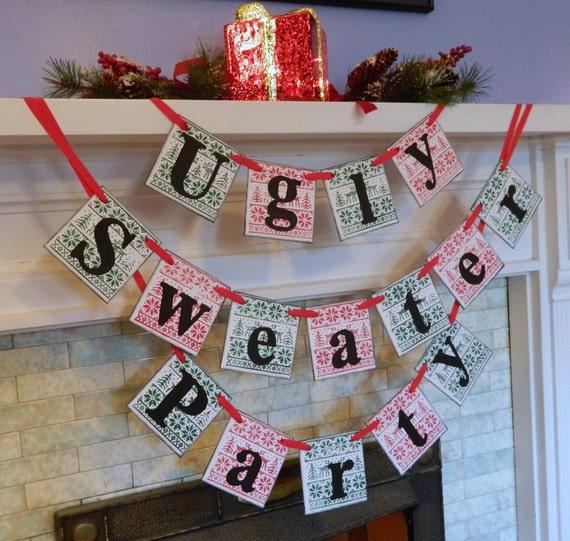 UGLY SWEATER Party Banner/ Christmas Party Decorations / Ugly Sweater PARTY Photo Prop / Sweater Party Decorations