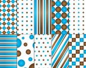 Brown and Blue Scrapbook Paper, Printable Brown and Blue paper, printable Brown and Blue scrapbook paper, Brown and Blue paper, baby boy