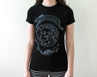 Lunar Hare Black Screen Print Punk Moon T-Shirt