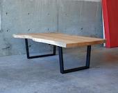 SALE!!! Asymmetric Brooklyn Coffee Table -- XL Maple Slab with Black Walnut Butterflys. Ready to ship.