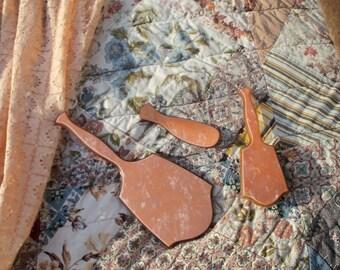 Vanity Set Pink Bakelite Celluloid Mirror Brush & Shoe Horn Remarkable Mid Century Find
