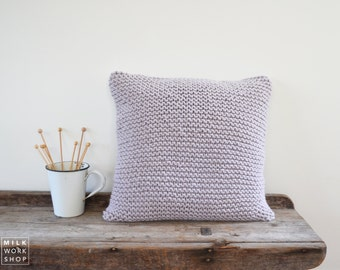 Chunky Knit Cushion | Hand Knit Wool Cushion Pillow Cover | LIGHT GREY | 50cm/20""