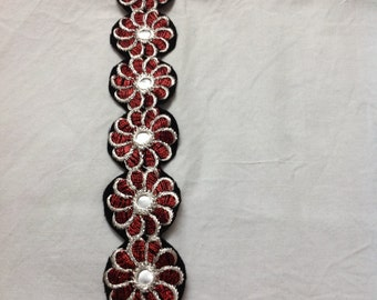 1 yard trim in floral embroidery and faux mirror work in red and gold
