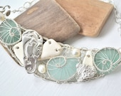Seaside Treasure Statement Bib Crescent Silver Sea glass and Beach Pottery from Greece