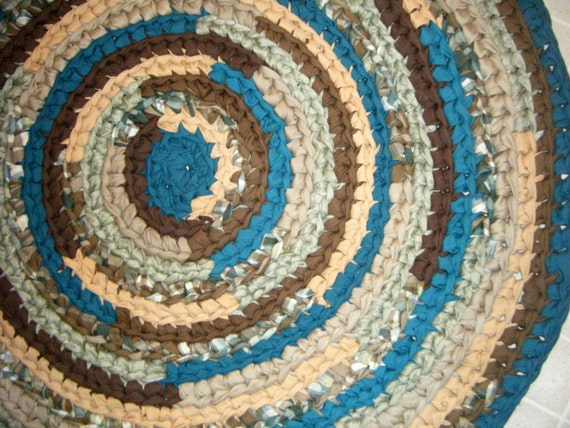 The Sand And Sea Colorsbrown And Teal Rug For Etsy