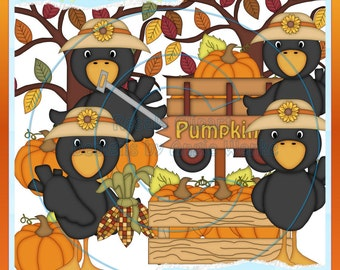 Fall Crows 2 Clipart (Digital Download)