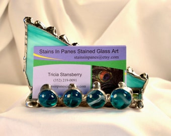 Business Card Holder - Women - Femine - Executive - Gift - Promotoion Gift - Counter Top - Display -Stained Glass - Custom - Display Holder