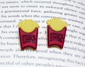 French Fries Button Earrings, Button Jewelry, French Fries Earrings, Food Jewelry