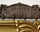 Art Nouveau Iron Hanger Barber Shop Sign Advertising Signage Ads Cast iron Primitive Metalware Hardware Industrial Father Gifts Him