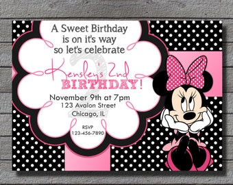 Minnie Mouse Birthday Invitation RED or PINK Digital file