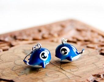 Whale Earrings Deep Blue Cute Whale Dangles Kawaii Ocean Earrings Beach Jewelry - E268
