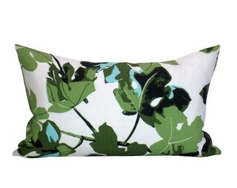 Fig Leaf lumbar pillow cover in Original on White