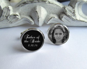 Father Of The Bride Cufflinks, Personalized Photo Cufflinks, Custom Wedding Cufflinks
