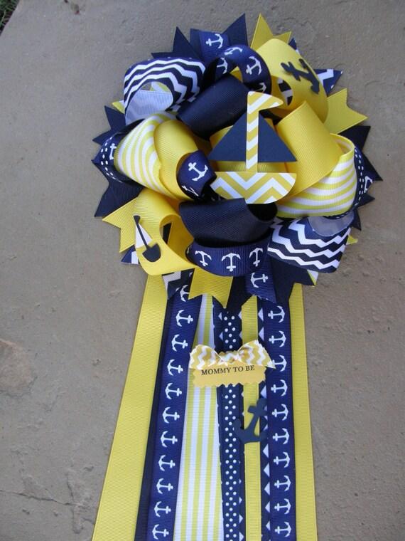 504 New Nautical Baby Shower Mum 485 Yellow Nautical Mum Baby Shower Mum  Nautical Baby Shower ...