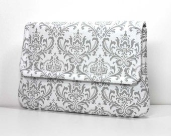 Clutch Purse - Gray / Grey Madison Damask on White with 2 Pockets - Ready to Ship