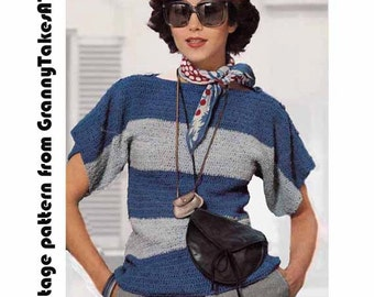 Striped Boxy Top/T-Shirt 1970s/80s VINTAGE CROCHET PATTERN, Boyfriend Fit, Breton style,Easy Pattern, Instant Pdf from GrannyTakesATrip 0230