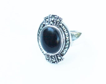 Vintage Black Onyx and Marcasite Silver Ring