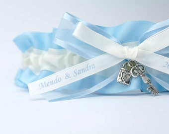 Personalized Wedding Garter in Blue and Ivory Satin