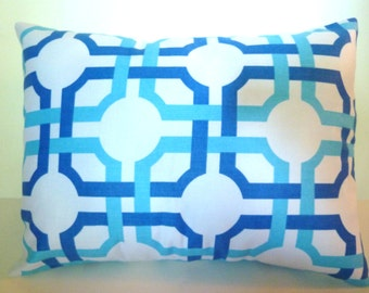 Geometric Blues Pillow Cover Accent Throw 3 sizes