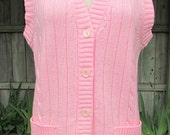 vintage 70s pink cardigan sweater vest b38 scooter girl secretary bonnie lee leroy knits