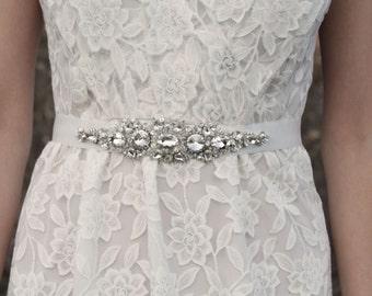 PIPER - Rhinestone Beaded Bridal Sash, Wedding Belt
