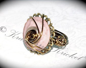 Vintage Pink -Antique Bronze and Pink Button Ring Size 8