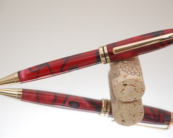 Handmade Pen Acrylic- Red and Black Acrylic and Gold Plating