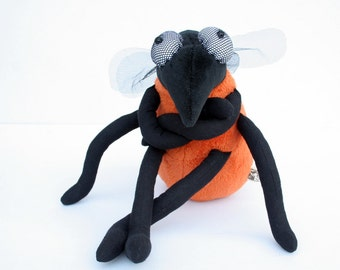 Funny Fruit Fly - Plush Toy, plushie Insect, orange softie, cuddly animal