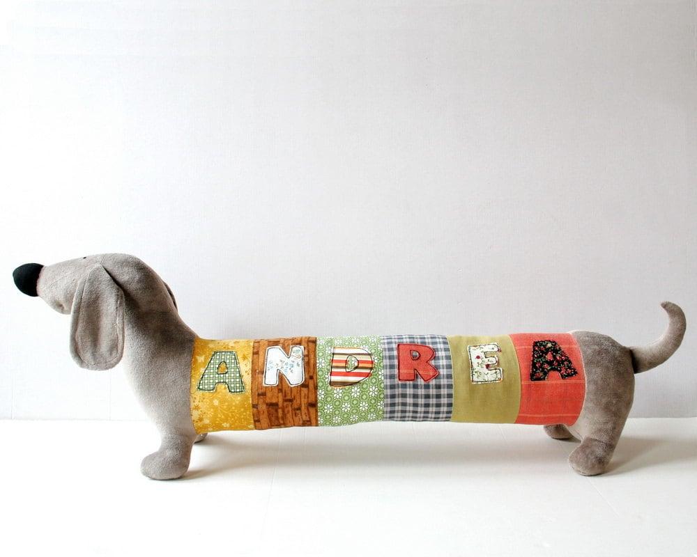 Personalized Dachshund Puppy, Long Plush Dog stuffed animal, plush toy, personalized stuffed animal