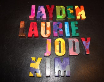 Recycled Crayons. Alphabet Crayons. Letter Crayons. Kids Crayons. Party Favors. Letters. Alphabet. Monogram. Rainbow Crayons. Name.
