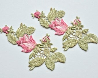 Pink Garden Rose Buds Embroidered Flower Appliques, Set of Two, Shabby Chic Roses for Sewing