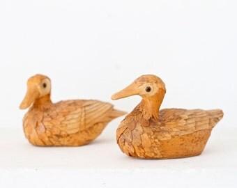 Wicker Ducks Pair - Vintage Handmade Rustic Home Decor