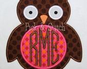 Monogram Owl Applique Design Machine Embroidery INSTANT DOWNLOAD