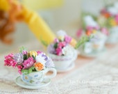 English bone china tea cup and saucer Posey bouquets in assorted pastel color mulberry paper florals for 1/6 scale dioramas