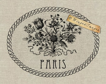 Paris French Flower Bouquet. Instant Download Digital Image No.209 Iron-On Transfer to Fabric (burlap, linen) Paper Prints (cards, tags)