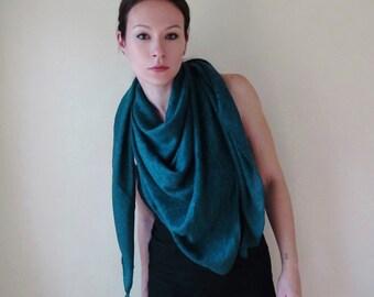 ON SALE - TEAL Triangle Scarf - Blue Green Geometric Sweater Knit Scarf - Jewel Tone Boho Scarf