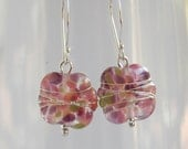 Recycled Glass Bead Earrings. Upcycled Wine Bottle. Handmade Recycled Glass Beads by AussieJules. Purple Tones.