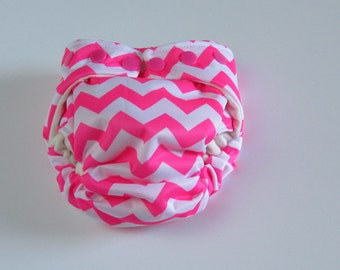 TADA AIO Organic Bamboo Cloth Diaper in Hot Pink Chevron Print