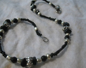 Onyx and black crystal anklet
