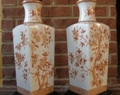Reserved for Sharon -Antique Pair Porcelain Oriental Lamps Hand Painted Gilt & Persimmon Rust Coral Red