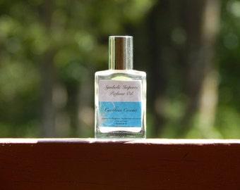 Perfume / Caribbean Coconut Perfume Oil - Tropical Island Fruit, Fresh Coconut - Roll On Perfume - 15mL